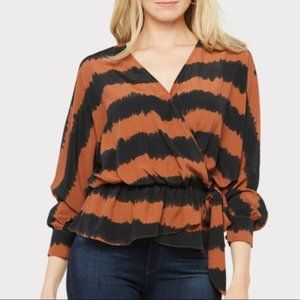 Peyton Jensen Meca Wrap Top Blouse Shirt XL NWT